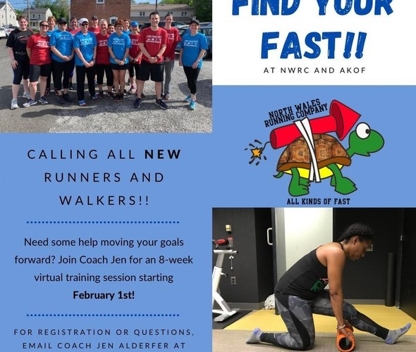 VIRTUAL RUN CLASS STARTS FEBRUARY 1ST! new runners and walkers welcome! click the arrow to the right for more info